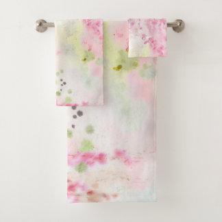 Grupo floral de toalha do banheiro da aguarela