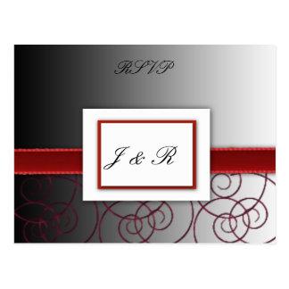 Grupo graduado preto e vermelho do casamento cartão postal