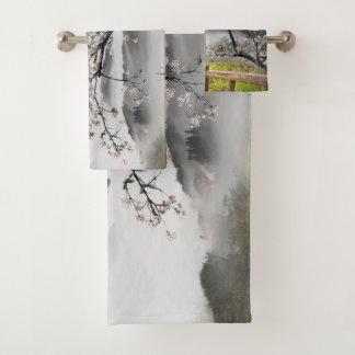 Grupo japonês de toalha do banheiro da paisagem da