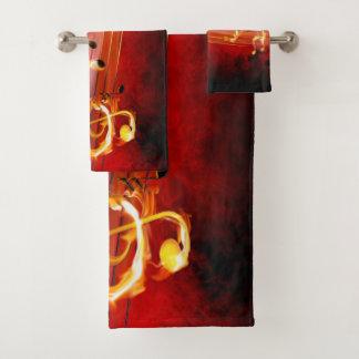 Grupo quente de toalha do banheiro das notas da