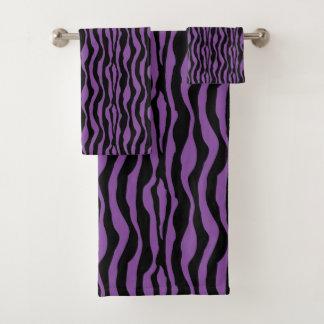 Grupo roxo chique de toalha do impressão da zebra