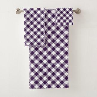 Grupo roxo e branco diagonal de toalha da xadrez