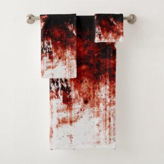 Grupo sangrento de toalha do banheiro do zombi