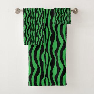 Grupo verde chique de toalha do impressão da zebra