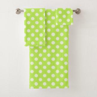 Grupo verde de toalha das bolinhas do citrino