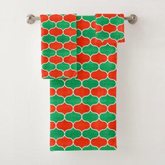 Grupo verde vermelho de toalha do teste padrão de