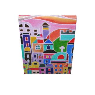 Guanajuato abstrato Jerusalem abriga Judaica Impressão De Canvas Envolvida