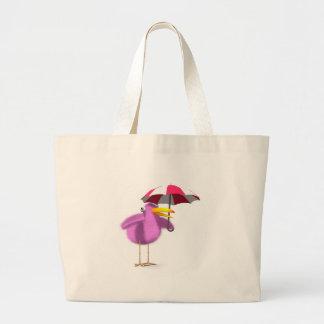 guarda-chuva cor-de-rosa do pássaro 3d sacola tote jumbo