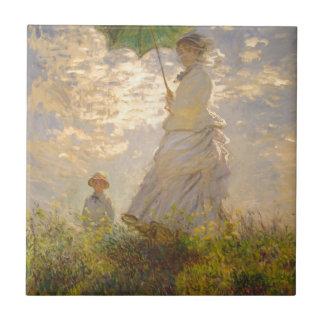 Guarda-chuva de //do passeio do La de Claude Monet Azulejo Quadrado Pequeno