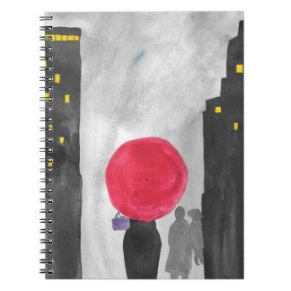 Guarda-chuva vermelho cadernos espiral