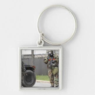 Guarda do suporte dos soldados em uma intersecção chaveiros
