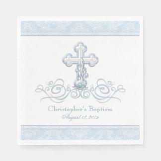 Guardanapo azuis do comunhão do baptismo da cruz