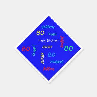 Guardanapo azuis, festa de aniversário do 80 que
