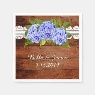 Guardanapo azuis rústicos da coleção do casamento