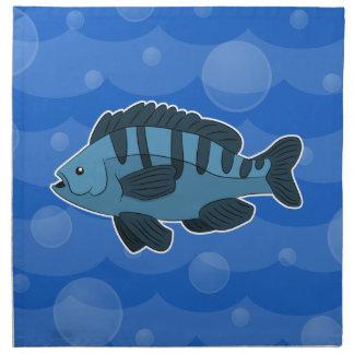 Guardanapo azul dos peixes dos desenhos animados
