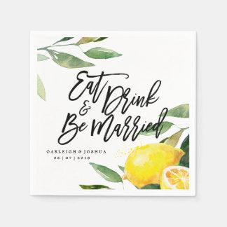 Guardanapo boémio do casamento do limão da