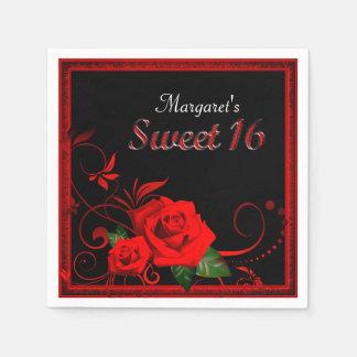 Guardanapo bonito do doce 16 da rosa vermelha