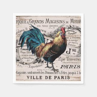 Guardanapo bonitos de Paris do galo do vintage do