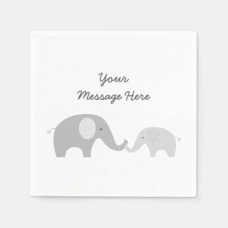 Guardanapo bonitos do elefante cinzentos & brancos