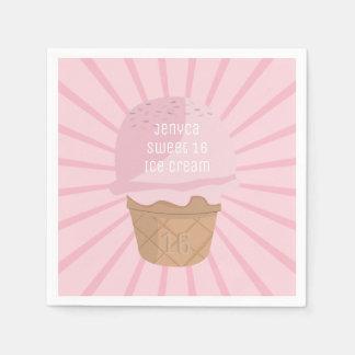Guardanapo cor-de-rosa bonitos do aniversário do