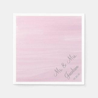 Guardanapo cor-de-rosa do casamento da aguarela