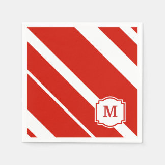 Guardanapo corajoso vermelho e branco do monograma