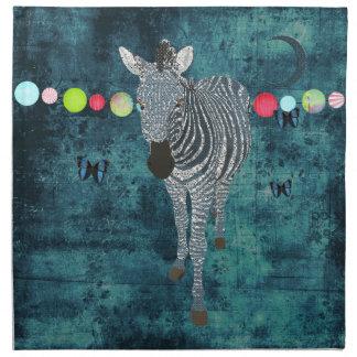 Guardanapo da meia-noite da zebra do luar