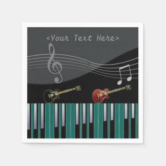 Guardanapo das notas da música do piano e da