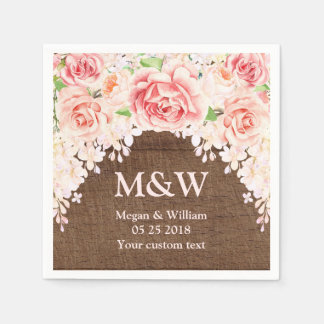 Guardanapo de madeira floral do casamento de Brown