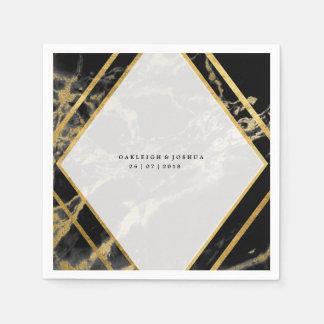 Guardanapo de mármore dourado do casamento