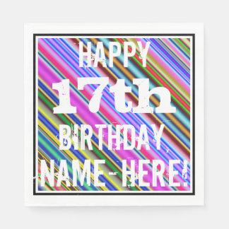 Guardanapo De Papel 17o aniversário vibrante, colorido + Nome feito