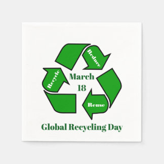 Guardanapo De Papel 18 de março, dia global do reciclagem