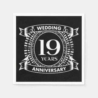Guardanapo De Papel 19o aniversário de casamento preto e branco