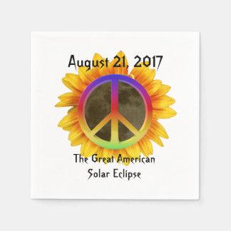 Guardanapo De Papel 2017 eclipse solar, girassol e símbolo de paz