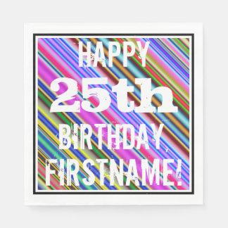 Guardanapo De Papel 25o aniversário vibrante, colorido + Nome feito