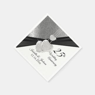 Guardanapo De Papel 25o design bonito do aniversário de casamento de