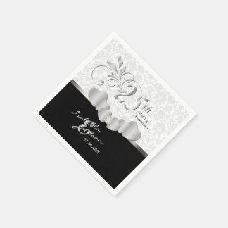 Guardanapo De Papel 25o Design de prata e branco do aniversário de