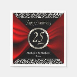 Guardanapo De Papel 25o Teste padrão do leopardo do aniversário de