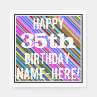 Guardanapo De Papel 35o aniversário vibrante, colorido + Nome feito