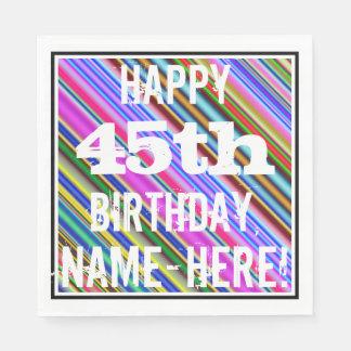 Guardanapo De Papel 45th aniversário vibrante, colorido + Nome feito