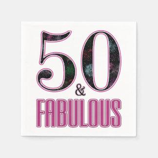 Guardanapo De Papel 50 & aniversário da tipografia preta cor-de-rosa
