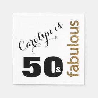 """Guardanapo De Papel """"50 & aniversário"""" do brilho fabuloso do ouro 3"""