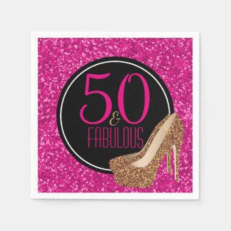 Guardanapo De Papel 50 & aniversário do rosa fabuloso do brilho do