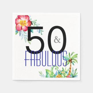 Guardanapo De Papel 50 e 50th aniversário floral tropical fabuloso