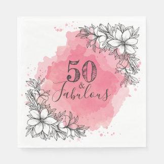 Guardanapo De Papel 50 & fabuloso. Aniversário. Flores no Watercolor.
