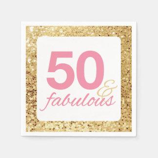Guardanapo De Papel 50 & Sequin fabuloso do falso do ouro e
