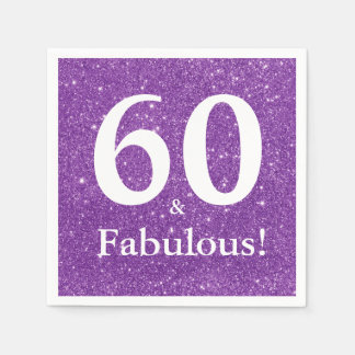 Guardanapo De Papel 60 & fabuloso! Aniversário do brilho roxo Sixtieth