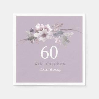 Guardanapo De Papel 60th festa de aniversário floral roxa elegante