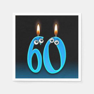 Guardanapo De Papel 60th vela do aniversário com globos oculares