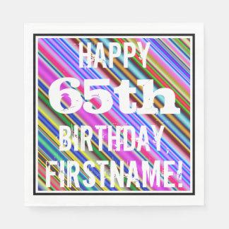 Guardanapo De Papel 65th aniversário vibrante, colorido + Nome feito